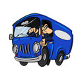 cartoon blue bus with a driver vector image