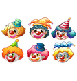 Different faces of a clown vector image