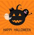 happy halloween smiling pumpkin face silhouette vector image