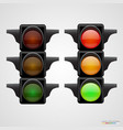 realistic traffic lights isolated on white vector image