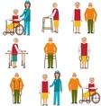 Set of Older People Disabled Elderly People in vector image