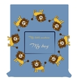 Baby shower design with cute jungle lions vector image