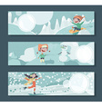 Horizontal banners with children playing outdoor vector image