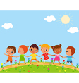 children walk on a beautiful spring day vector image