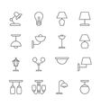 Lamp icons thin line style flat design vector image vector image