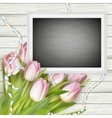 Chalk board on wooden background EPS 10 vector image