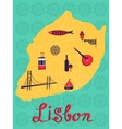 Colorful stylized map of Lisbon with tipical icons vector image