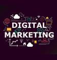 creative of digital marketing word lettering vector image