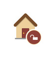 house with an open lock icon for web mobile vector image