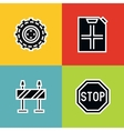 Road tourist icons in line style on color vector image
