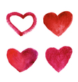 Set of watercolor red hearts vector image