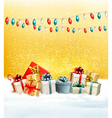 Christmas presents with a garland and a gift boxes vector image vector image