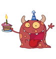 Monster Wearing A Party Hat And Holding A Cake vector image vector image