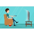Man watching television on armchair flat vector image