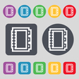 Book icon sign A set of 12 colored buttons Flat vector image