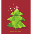 Christmas tree folded of green paper vector image