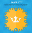 Crown Floral flat design on a blue abstract vector image