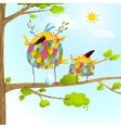 Funny bird on tree family mother and nestling egg vector image