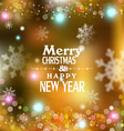 holiday gold background with snowflakes blurred vector image