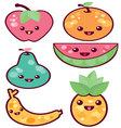 Kawaii-fruits vector image