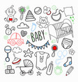 newborn baby hand drawn doodle with toys vector image