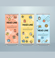 roll up banner stand design template vector image
