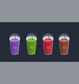 set of different smoothies in plastic cup with lid vector image