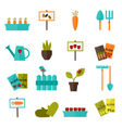 Gardening set icons over white vector image
