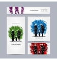 Business cards design Christmas family vector image vector image