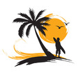 Tropical landscape with surf vector image vector image