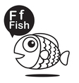 F Fish cartoon and alphabet for children to vector image