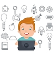 boy studying online isolated icon design vector image