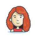cartoon girl face isolated design vector image