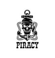 jolly roger pirate skull piracy anchor icon vector image