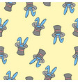 pattern rabbit and hat collection vector image