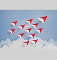 red paper plane on blue sky vector image