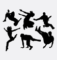 Pakour dancer material art sport silhouette vector image