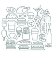 Set of fast food icons in linear style vector