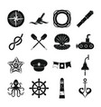 nautical icons set simple style vector image