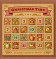 Vintage Christmas Advent Calendar vector image