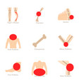 bone problem icons set cartoon style vector image