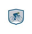 Cyclist Riding Mountain Bike Shield Retro vector image vector image