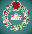 Christmas of wreath with stickers vector image