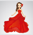 beauty princess in red dress vector image