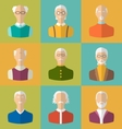 Old people Icons of Faces of Old Men Grandfathers vector image