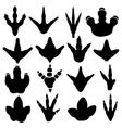 Dinosaur claw footprint silhouettes set vector image