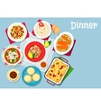 Seafood and pasta dishes icon for food design vector image