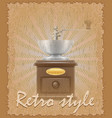 retro style poster old coffee mill vector image
