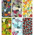 Set of six vertical cards with skulls and apples vector image