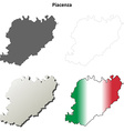 Piacenza blank detailed outline map set vector image vector image